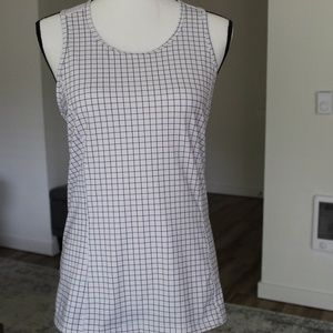 White and Black Checkered Athletic Top